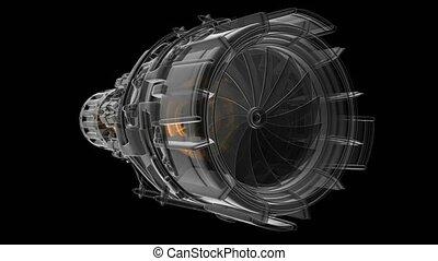 moteur, turbine, tourner, avion réaction