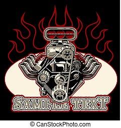 moteur, turbo, isolé, vecteur, arrière-plan noir, dessin animé