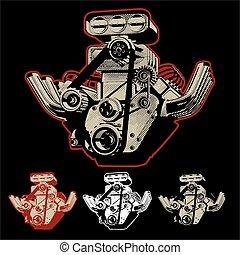 moteur, turbo, vecteur, dessin animé