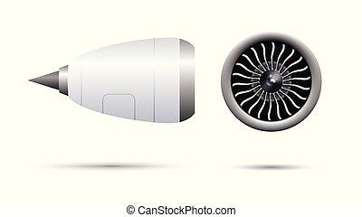 moteur, vecteur, turbo-jet, illustration, réaliste, avion,...