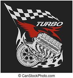 moteur, vendange, checkered, drapeaux, courses