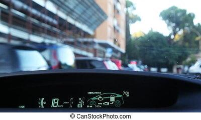 moteur, ville, conduite, voiture, intérieur, rues, hybride, toyota, par, étroit, prius