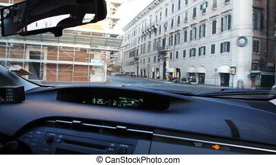 moteur, ville, conduite, voiture, intérieur, rues, toyota, hybride, par, prius