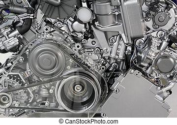 moteur voiture, ceinture, et, engrenages, détail