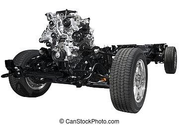 moteur, voiture, châssis