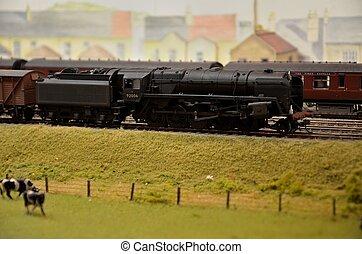 moteur voiture, charbon, modèle, vapeur, &, train