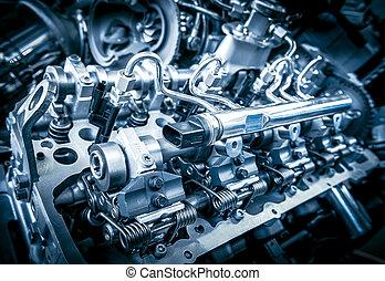 moteur, voiture, coup, haut fin