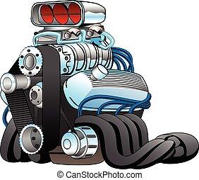 moteur, voiture course, tige, illustration, chaud, vecteur, dessin animé