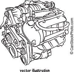 moteur, voiture, croquis, vecteur