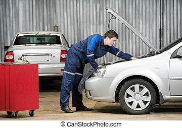 moteur, voiture, diagnostiquer, mécanicien, auto, problème