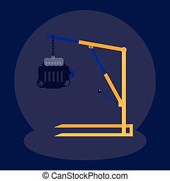 moteur, voiture, grue, atelier, mécanicien