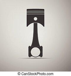 moteur, voiture, icon., piston