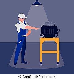 moteur, voiture, ouvrier, mécanicien