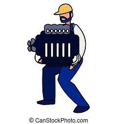 moteur, voiture, ouvrier, mécanicien, levage