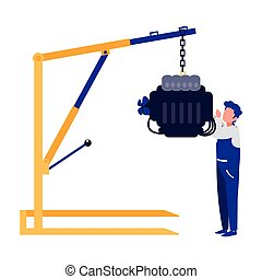 moteur, voiture, ouvrier, mécanicien, pendre