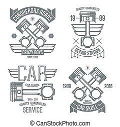 moteur voiture, piston, emblèmes