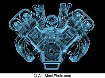 moteur voiture, rayon x, bleu, transparent, isolé, sur, noir