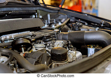 moteur, voiture, vieux, sale, garage.