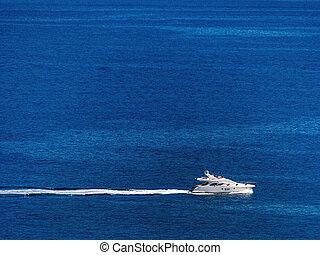 moteur, yacht, sur, les, mer