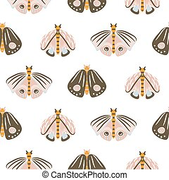 Moth cartoon baby seamless vector pattern.