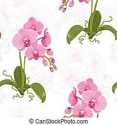 moth, muster, phalaenopsis, realistisch, blumen-, orchidee