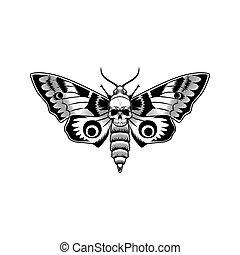 Moth with skull vector illustration