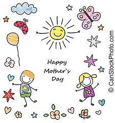 motherçs, glücklich, tag