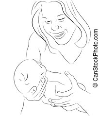 Mother and a baby sketch