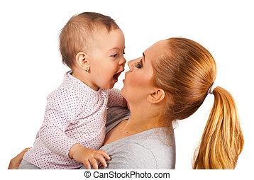 Mother and amazed baby girl