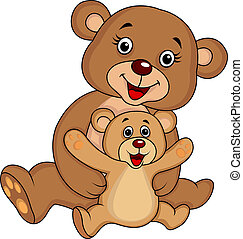 Mother and baby bear cartoon - Vector illustration of mother...