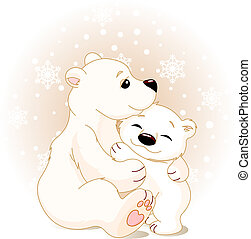 Mother and baby bear - Winter day. Snowing. Mother bear...
