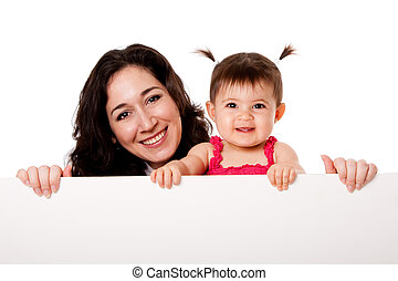 Mother and baby daughter holding white board - Beautiful...