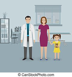 Mother and baby daughter visit doctor's office. Family healthcare concept.