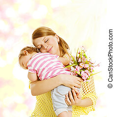 Mother and Baby Family Portrait with Flowers, Little Kid Embracing Mom, Child Congratulate Mothers Dat and Love Concept