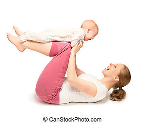 mother and baby gymnastics, yoga exercises isolated - A...