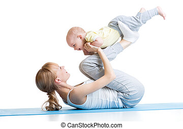 mother and baby gymnastics, yoga exercises isolated on white...