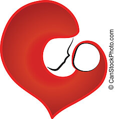 Mother and baby heart logo