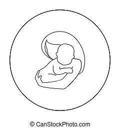 Mother and baby icon in outline style isolated on white background. Pregnancy symbol stock vector illustration.
