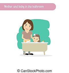 Mother and baby in the bathroom