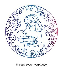 Mother and baby inside round frame.