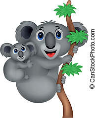 Mother and baby koala cartoon - Vector illustration of...