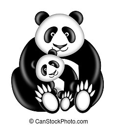 Mother and Baby Panda Bear Hugging Illustration Isolated on...