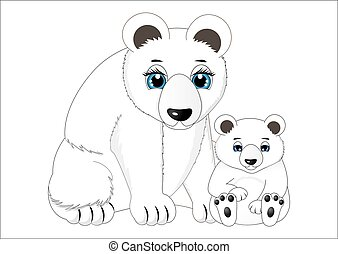 Mother and baby polar bear