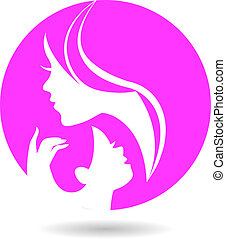 Mother and baby silhouettes. Card of Happy Mother's Day