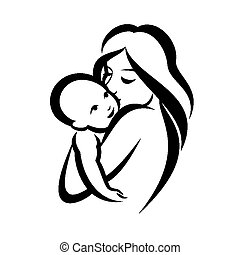 mother and baby stylized vector symbol