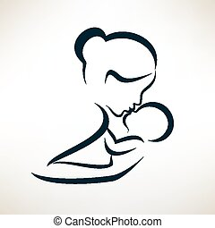 mother and baby stylized vector symbol, outlined sketch