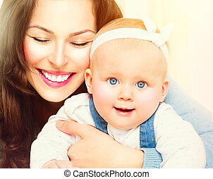 Mother and baby together. Maternity concept