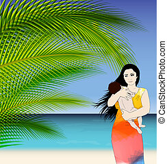 Mother and baby tropical illustration