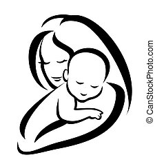 mother and baby vector silhouette, sketch in black lines