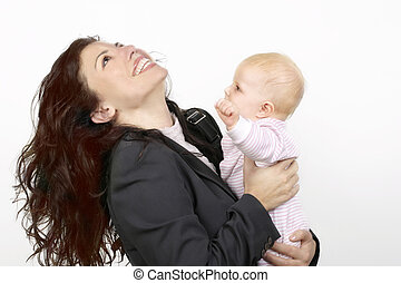 Working mother enjoying time with baby (landscape)